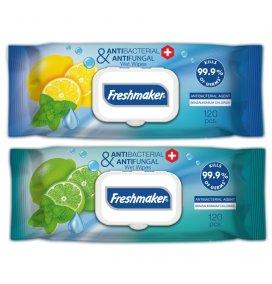Freshmaker Antibakteriyel ve Antifungal Islak Mendil 120 adet kapaklı x 12li koli